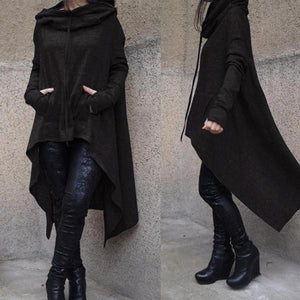 Asymmetrical Hem Long Sleeve Loose Fitted Hoodie