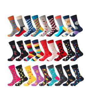 Men's Bold Color Novelty Dress Socks, 27 Designs