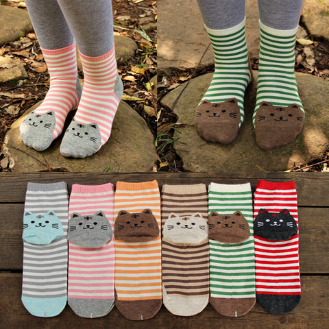Women's Harajuku Style Striped Cotton Cat Socks, 6 pk