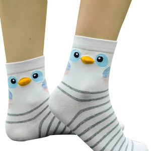 Women's Cute Striped Animal Cotton Socks, Owl, Bird, or Penguin