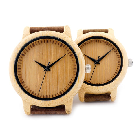 Handmade Natural Bamboo Wood Watch with Leather Band