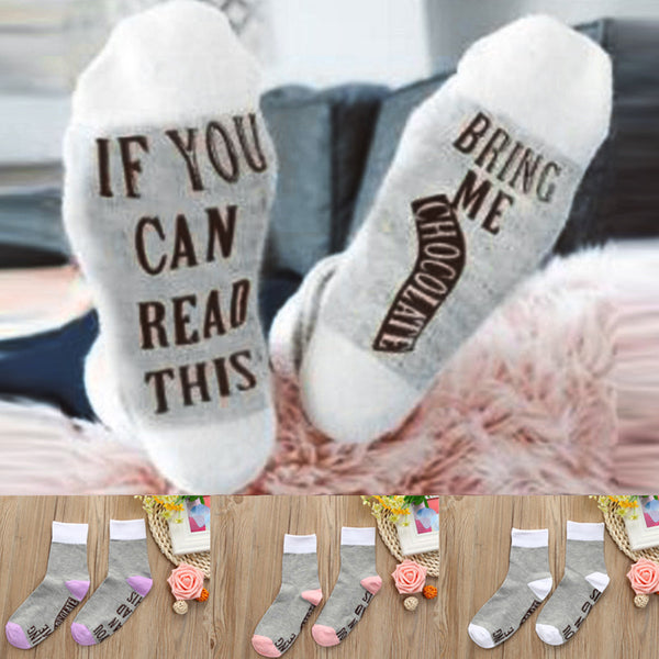"""Bring Me Chocolate"" Funny Socks, 3 Colors"