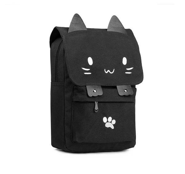 Cute Cartoon Cat Canvas School Bag / Backpack