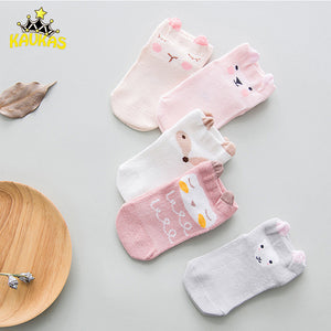 Cartoon Animals Anti-slip Baby / Toddler Socks, 5pk