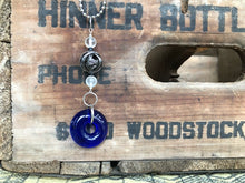 Upcylced Cobalt Blue Wine Bottle Pendant