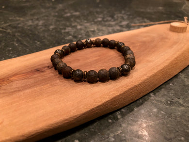 Rugged Men's Bronzite & Pyrite Bracelet