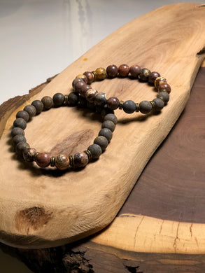Hers & His Bronzite & Dragons Blood Jasper Bracelet Set