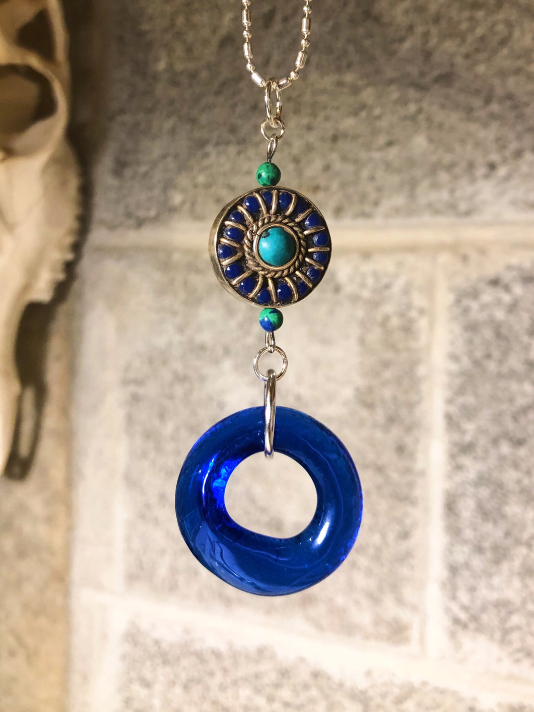 Upcycled Cobalt Blue Wine Bottle Pendant with Tibetan Bead