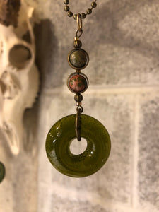 Upcycled Pinot Noir Bottle with Unakite Precious Stones