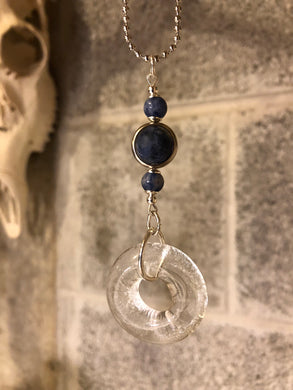 Upcycled Rose' Wine Bottle Pendant with Sodalite