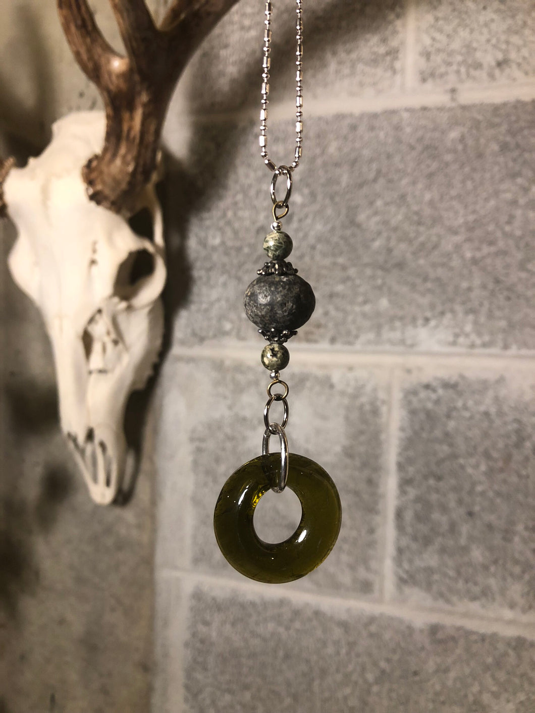 Upcycled wine bottle pendant