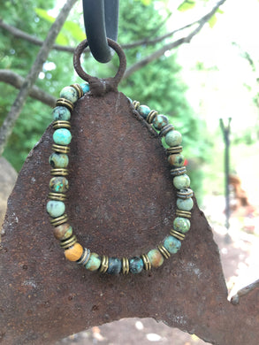 African Turquoise Semi-Precious Stone Bracelet with Bronze Accent