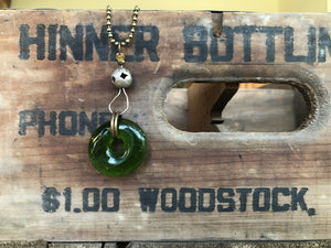 Upcycled Heineken Beer Bottle Pendant Necklace with vintage tin connector.