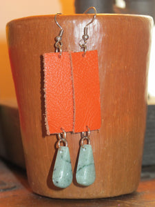 Leather and Jade Earring
