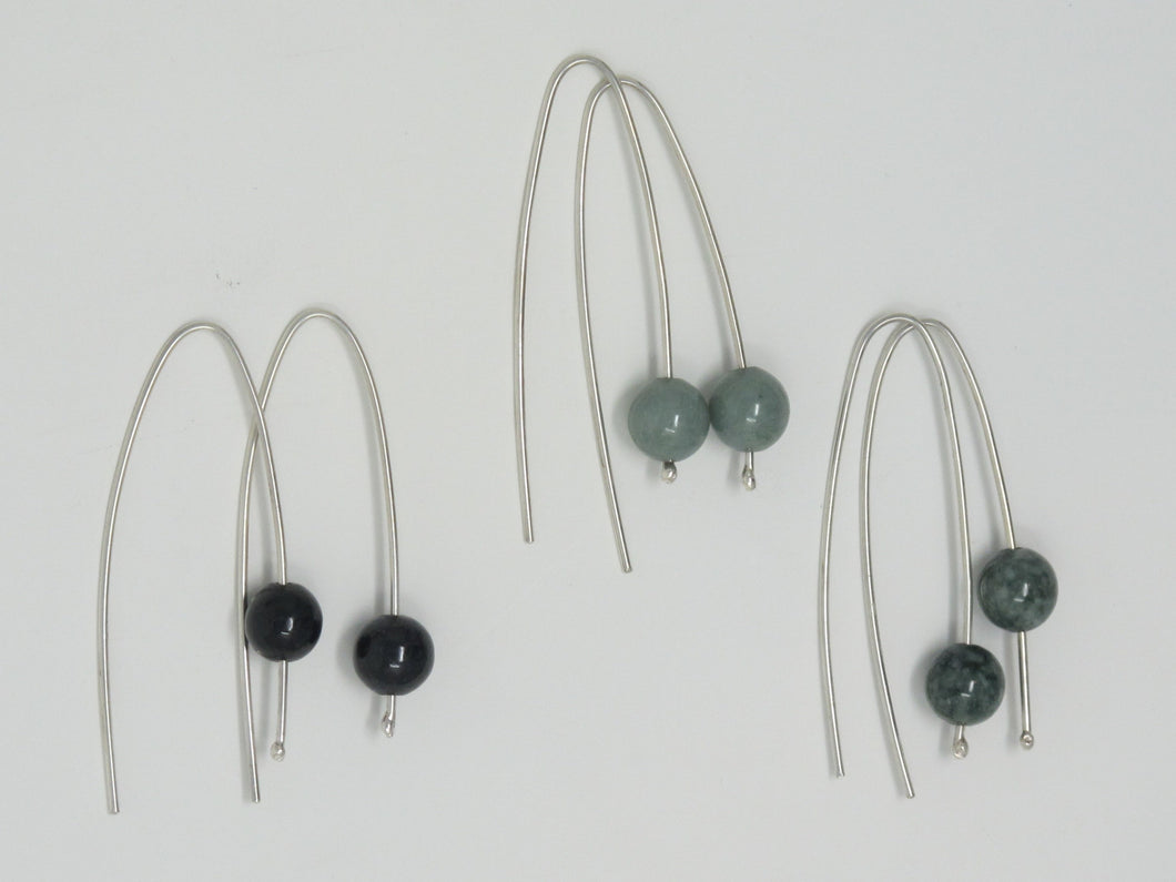 Sterling Silver Drop Earring with Jade