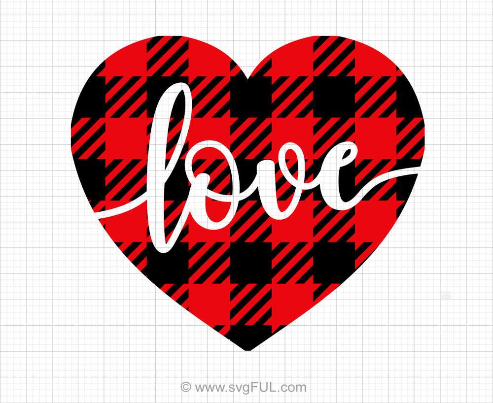 Buffalo Plaid Love Heart Svg Saying