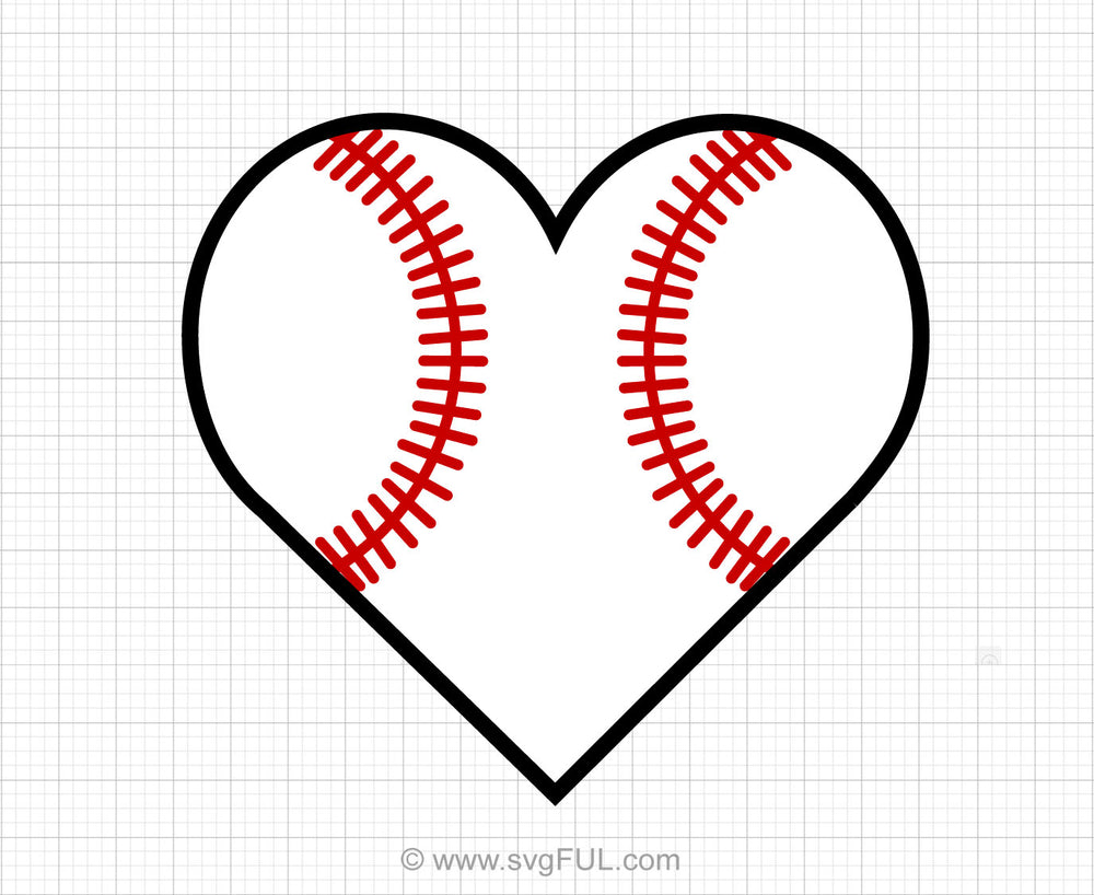 Baseball Heart Svg Clipart