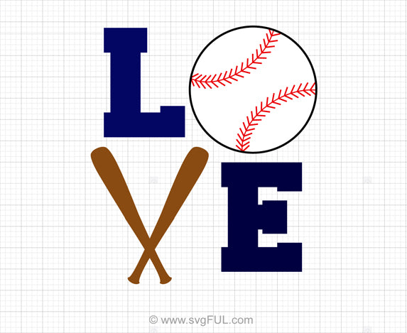 Love Baseball SVG Clipart