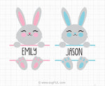 Easter Bunny Split Monogram Svg Clipart