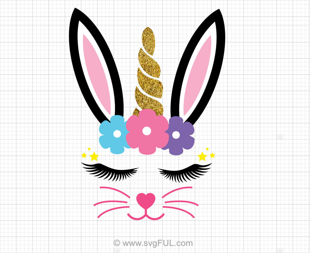 Glitter Unicorn Bunny Face Svg Clipart