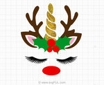 Glitter Unicorn Reindeer Face Svg Clipart