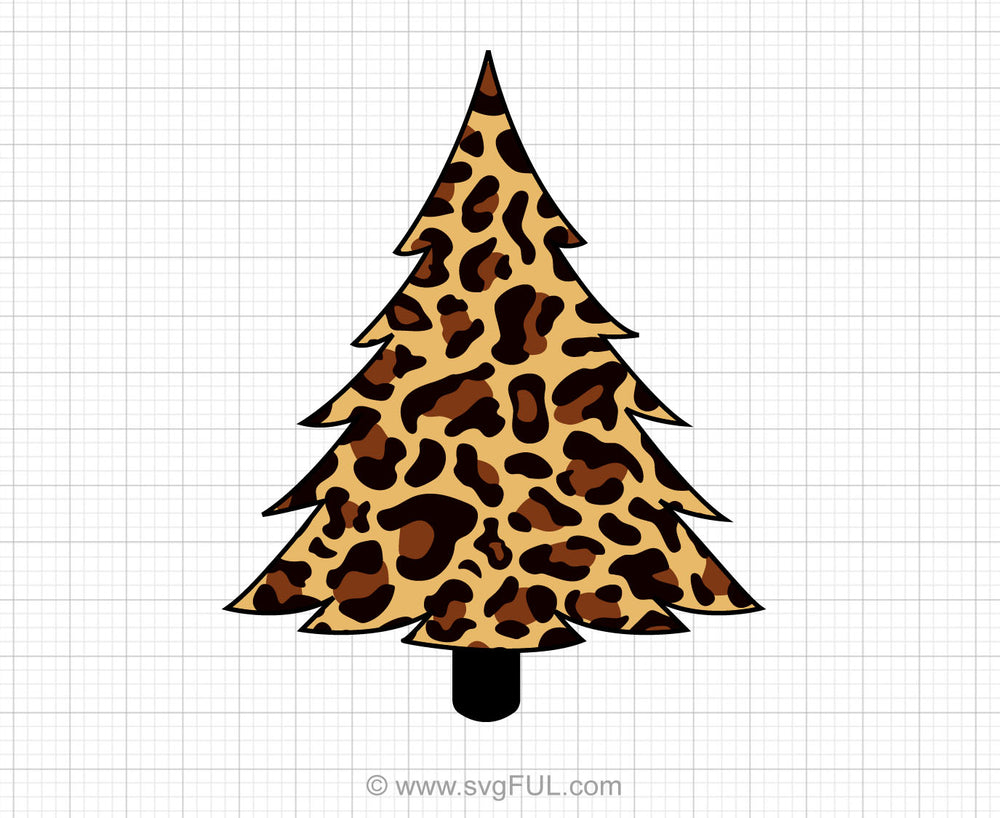 Leopard Print Christmas Tree Svg Clipart