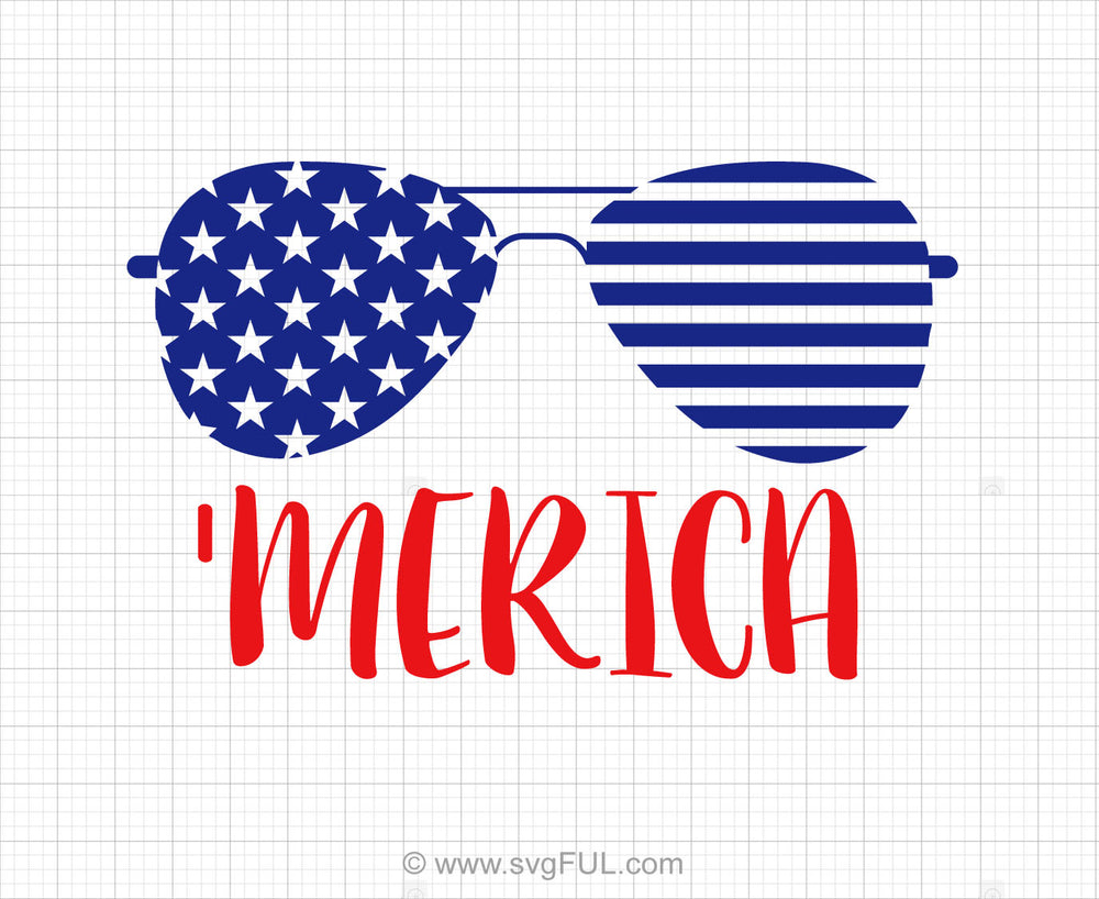Merica Flag Glasses Svg Saying Clipart