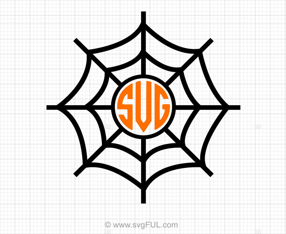 Spiderweb Monogram Svg Clipart