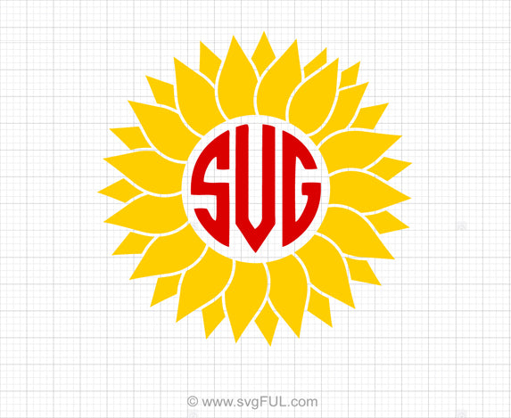 Sunflower Monogram SVG Clipart