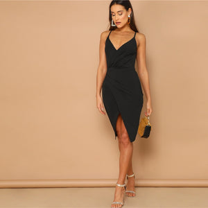 fbdafd583d SHEIN Sexy Black Backless Bodycon Dress – Black Store Mauritius