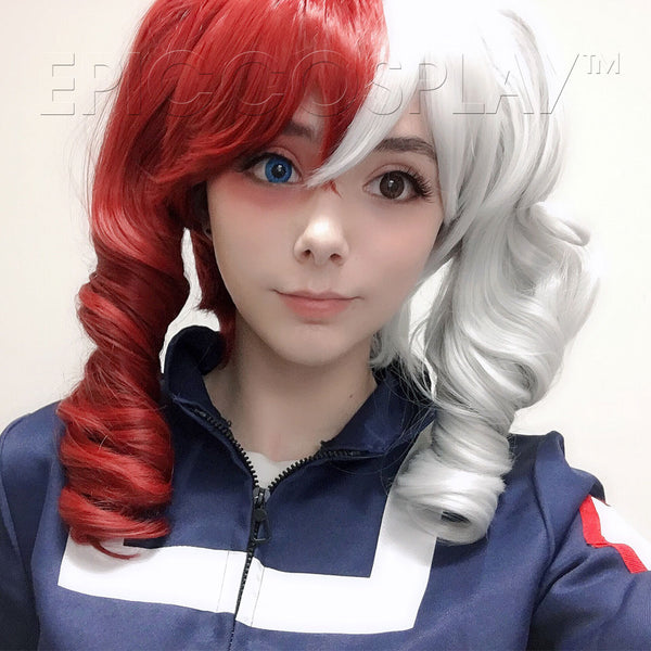 Rhea - Silvery Grey and Dark Red Wig