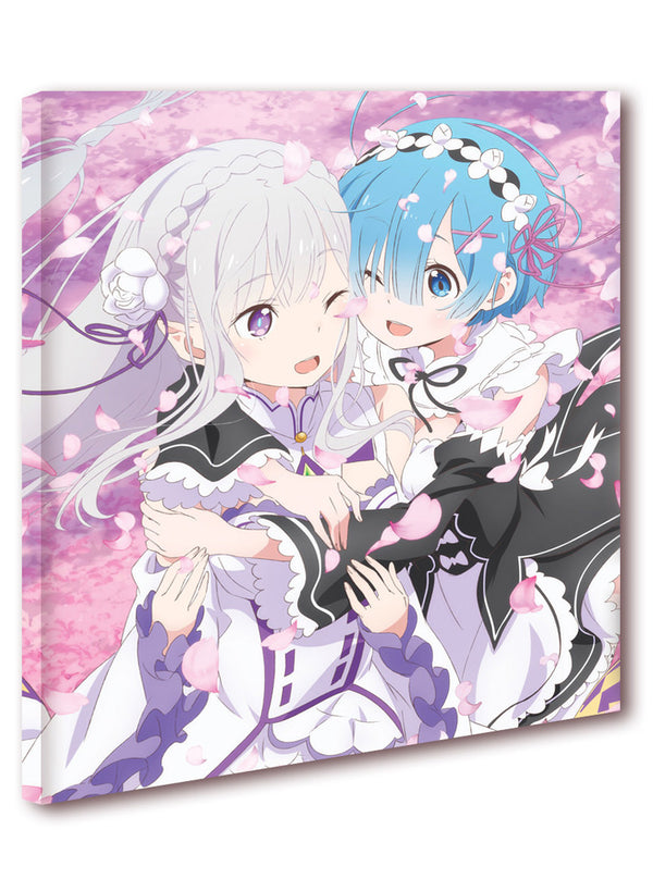 Official Re: Zero Canvas Art - Emilia and Rem Sakura