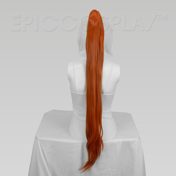 "35"" Autumn Orange Straight Ponytail Clipon"