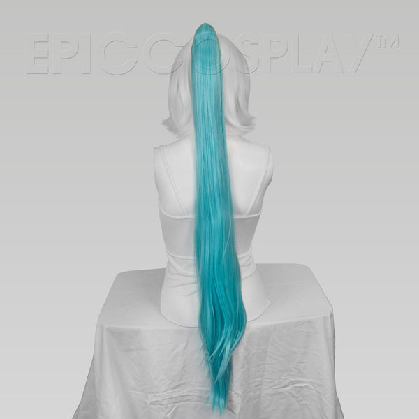 "35"" Anime Blue Mix Straight Ponytail Clipon"