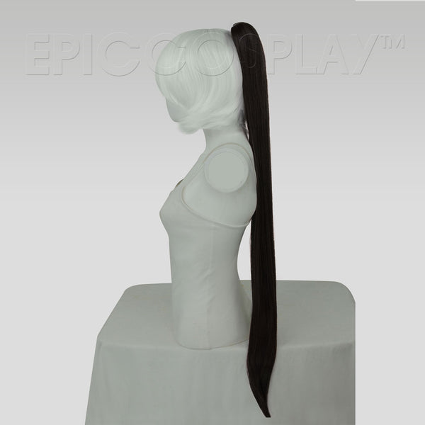 "35"" Black Straight Ponytail Clipon"