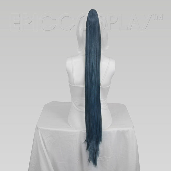 "35"" Blue Steel Straight Ponytail Clipon"