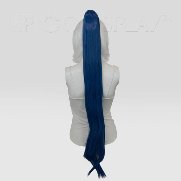 "35"" Shadow Blue Mix Straight Ponytail Clipon"