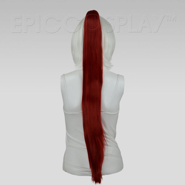 "35"" Dark Red Straight Ponytail Clipon"