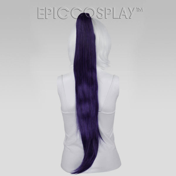 "35"" Purple Black Fusion Straight Ponytail Clipon"