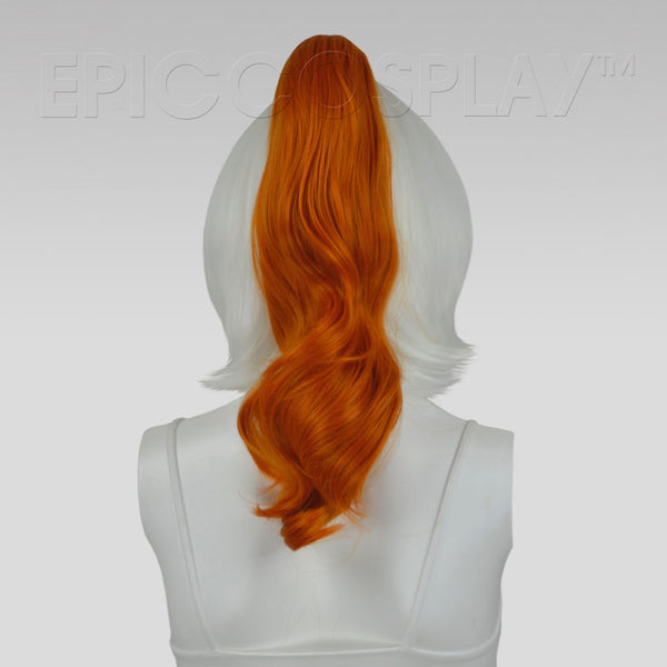 "20"" Autumn Orange Wavy Curly Ponytail Clipon"