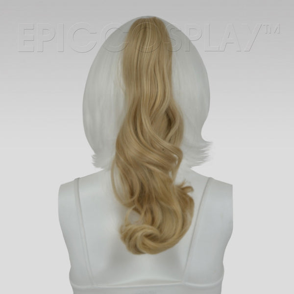 "20"" Blonde Mix Wavy Curly Ponytail Clipon"