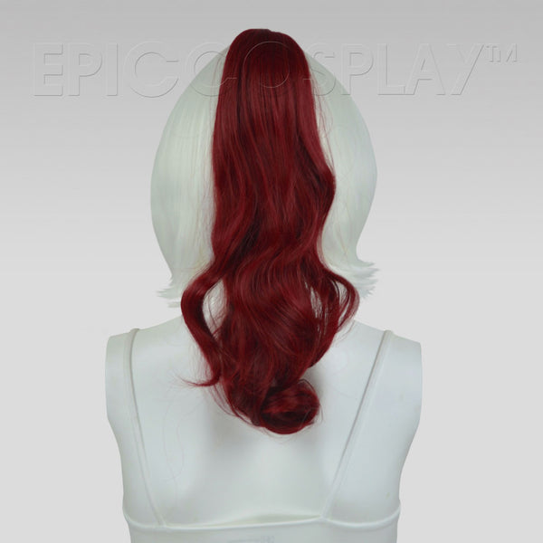 "20"" Burgundy Red Wavy Curly Ponytail Clipon"