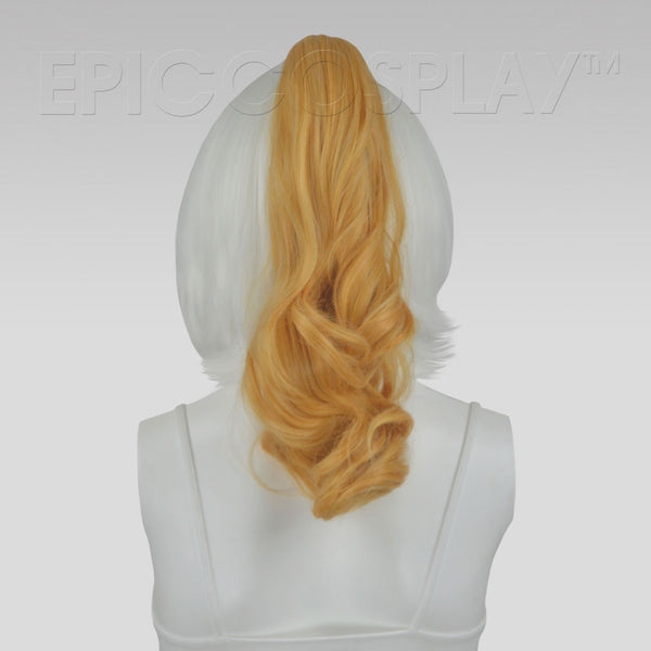 "20"" Butterscotch Blonde Wavy Curly Ponytail Clipon"