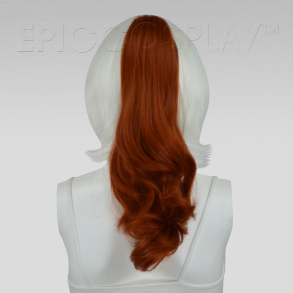 "20"" Copper Red Wavy Curly Ponytail Clipon"
