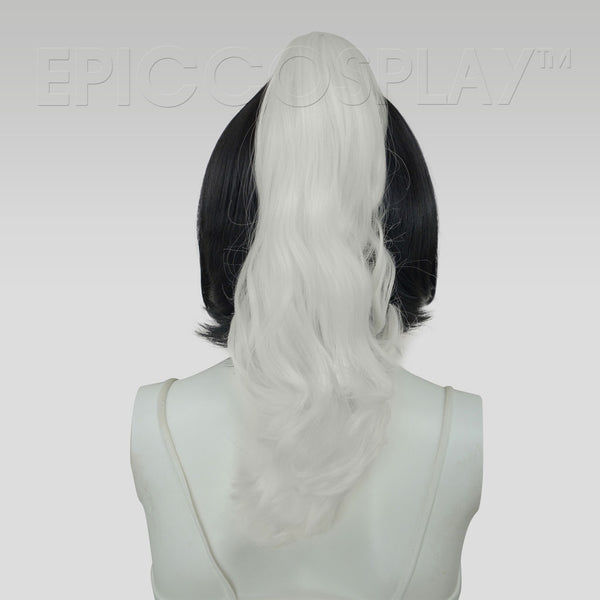 "20"" Classic White Wavy Curly Ponytail Clipon"