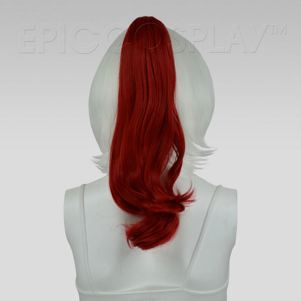 "20"" Dark Red Wavy Curly Ponytail Clipon"