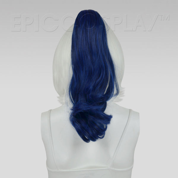 "20"" Blue Black Fusion Wavy Curly Ponytail Clipon"