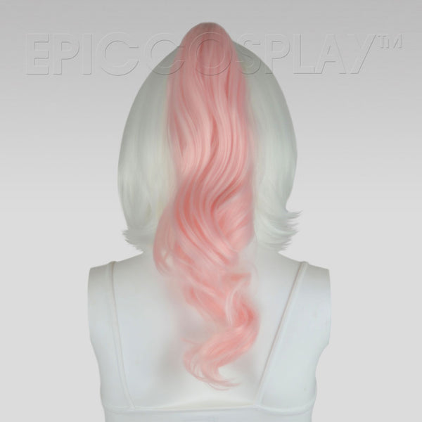 "20"" Fusion Vanilla Pink Wavy Curly Ponytail Clipon"