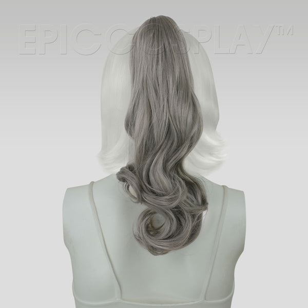 "20"" Gunmetal Grey Curly Ponytail Clipon"