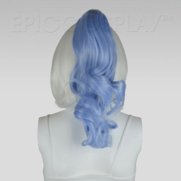 "20"" Ice Blue Wavy Curly Ponytail Clipon"